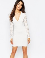 Club L Essentials Plunge Body-Conscious Dress with Lace Back and Sleeves