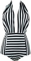 Freemale Womens One Piece Backless Bather Swimsuit High Waisted Pin Up Bikini Swimwear (L)