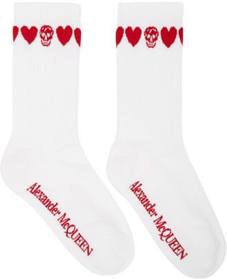 Alexander McQueen White and Red Skull Socks