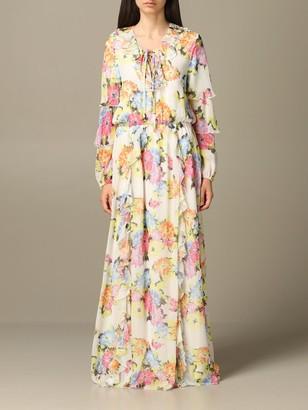 Long Be Blumarine Dress In Floral Patterned Chiffon