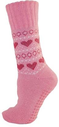 Rjm Ladies Heart Patterned Non Skid Slipper Socks Size 4-6 Pink