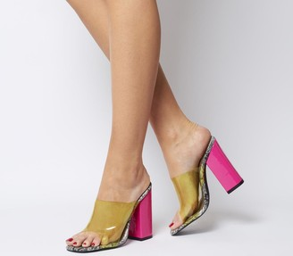 Ego Brooke Transparent Block Heel Mules Grey Snake Neon Pink