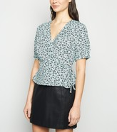 New Look Ditsy Floral Frill Wrap Blouse