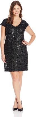 Adrianna Papell Women's Plus-Size Cap Sleeve V-Neck Lace Shift Dress