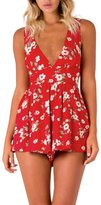 Berrygo Women's Sexy Plunge Neck Sleeveless Floral Print Romper Short Jumpsuit Playsuit