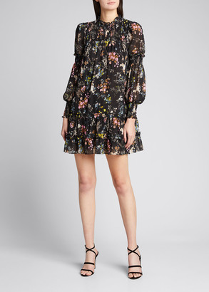 Cinq à Sept Stephanie Smocked Long-Sleeve Dress