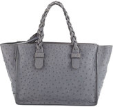 Valentino Ostrich-Embossed Leather Tote Bag, Pearl Gray