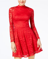 Material Girl Juniors' Mock-Neck Lace Skater Dress, Created for Macy's