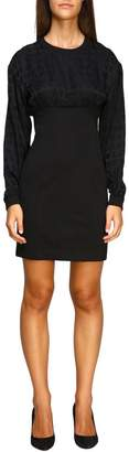 Love Moschino Dress Crew-neck Dress In Two-material Fabric With All-over Logo