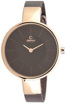 Obaku Ladies' Rose Gold Plate & Brown Mesh Strap Watch