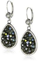 "Liz Palacios Orient Express"" Teardrop Silver Shade Crystal Earrings"