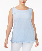 NY Collection Plus Size Printed Button-Back Top