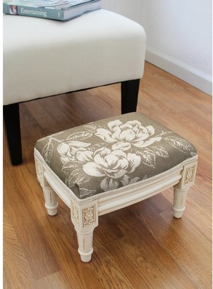 123 Creations Taupe Magnolia Footstool with antique white finish