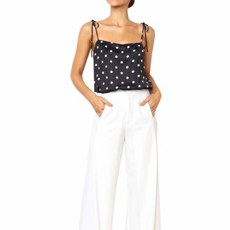 Lancy Luna Lancy_Luna Womens Polka Dot Strappy Cami Tank Tops Sexy Spaghetti Strap Lace up Camisole for Beach Vacation Ribbed Knit Crop Top Black