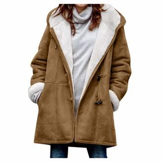 BOIYI Women Denim Faux Fur Long Sleeve Hood Multicolor Oversized Coat Outwear Casual Loose Fit Wool Coats Plus Size(Gray XXL)