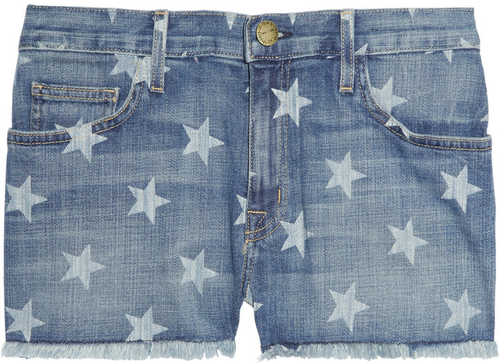 Current/Elliott The Boyfriend star-print low-rise stretch-denim shorts