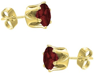Savvy Cie 18K Yellow Vermeil Garnet 4mm Stud Earrings