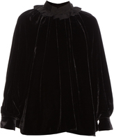 Fendi Ruffled-collar velvet blouse