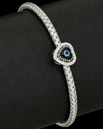 Italian Gold Meshmerise 14K 0.15 Ct. Tw. Diamond Evil Eye Bracelet