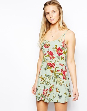 Asos Playsuit With Multi Strap Detail In Floral Print - Multi 2