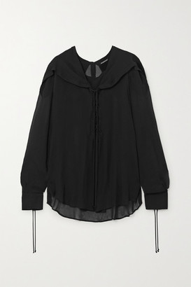 Ann Demeulemeester Lace-up Ruffled Chiffon Blouse - Black