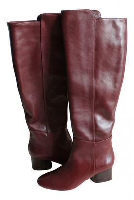 Massimo Dutti Burgundy Leather Boots