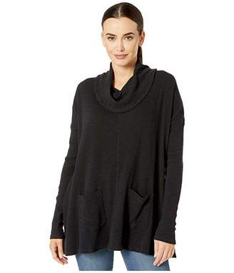 Mod-o-doc Mod O Doc Vintage Slub Thermal Long Sleeve Swingy Cowl Neck Pullover (Blush) Women's Clothing