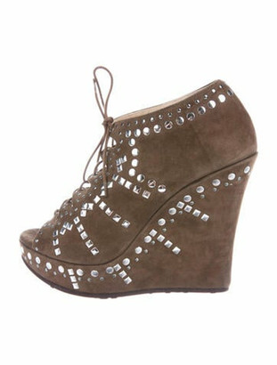 Jimmy Choo Suede Studded Accents Lace-Up Boots Brown