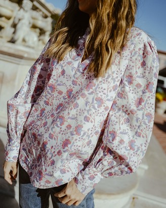 The Drop Women's Ivory Floral Print Ruffled V-Neck Balloon Sleeve Loose-Fit Blouse by @spreadfashion S