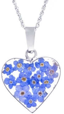 """Giani Bernini Medium Heart Dried Flower Pendant with 18"""" Chain crafted in Sterling Silver. Available in Multi or Blue"""