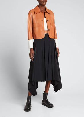 Loewe Asymmetric Leather-Waist Midi Skirt