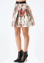 Bebe Print Metallic Silk Skirt