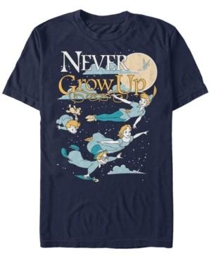 Disney Men's Peter Pan Group Shot Never Grow Up Night Portrait, Short Sleeve T-Shirt