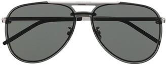 Saint Laurent Double-Bridge Aviator Sunglasses
