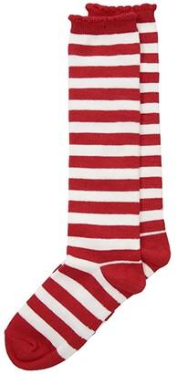 Jefferies Socks Stripe Knee Hi (Toddler/Little Kid/Big Kid) (Red/White) Girls Shoes