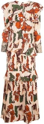 Johanna Ortiz Tiered Pleated Floral Print Dress