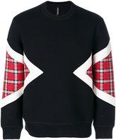 Neil Barrett check-panelled sweatshirt