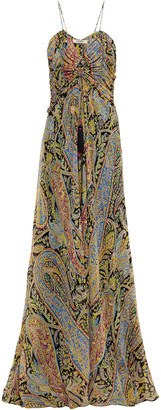 Etro Tasseled Ruched Printed Silk Crepe De Chine Maxi Dress
