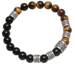 Novica Handmade Sterling Silver Batuan Renaissance Tiger's Eye Onyx Bracelet