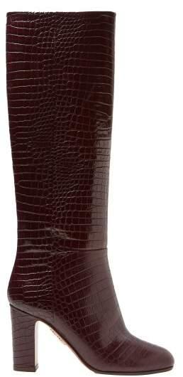 Aquazzura Brera 85 Crocodile Effect Leather Knee High Boots - Womens - Burgundy