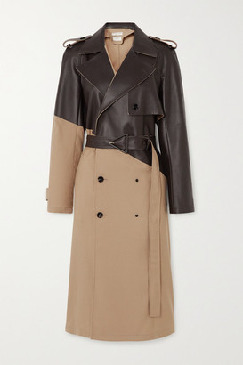 Bottega Veneta Belted Double-breasted Wool-gabardine And Leather Trench Coat - Beige