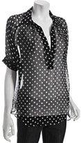 Wyatt black polka dot silk chiffon oversized blouse