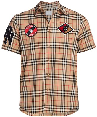 Burberry Combe Short-Sleeve Vintage Check Patch-Embroidered Shirt