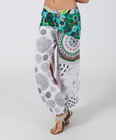 Aller Simplement Black & Green Circle Abstract Harem Pants