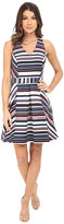 Adelyn Rae Stripe Cross-Back Fit and Flare
