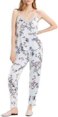 Josie Floral Print Lace Trim Cami & Pants Pajama Set