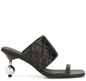 Manning Cartell Australia Quilted-Effect Embellished-Heel Mules