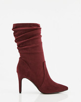 Le Château Faux Suede Pointy Toe Ruched Boot