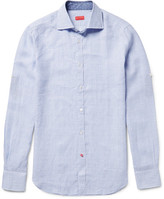 Isaia Slim-Fit Checked Linen Shirt