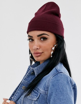 Asos Design DESIGN turn up beanie in recycled polyester in burgundy-Red